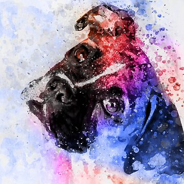 Pug Watercolor portrait by NoraMohammed