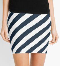 Navy Thick Diagonal Stripes Mini Skirt