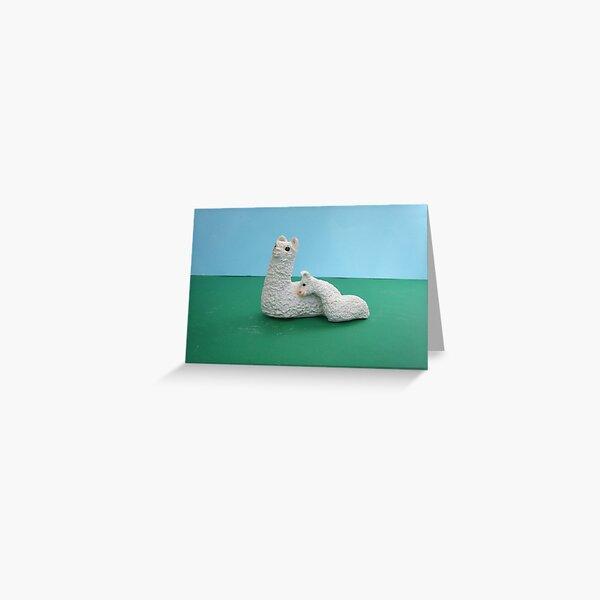 White Mum and baby Alpaca Greeting Card