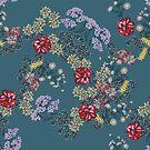 « Tapis de fleurs, fond vert » par Stylet-Pinceau