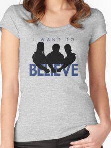 I Want to Believe (White) Women's Fitted Scoop T-Shirt
