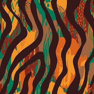 Brown orange green geometric ethnic zebra animal print by Kicksdesign