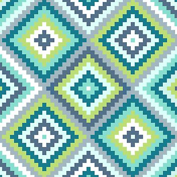 Aztec Diamond Block Ptn Teals Blues Lime White by NataliePaskell