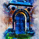 Colorful Old Door Watercolor painting  by Nora Gad