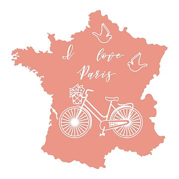 Map of France, bicycle, pigeons. by aquamarine-p