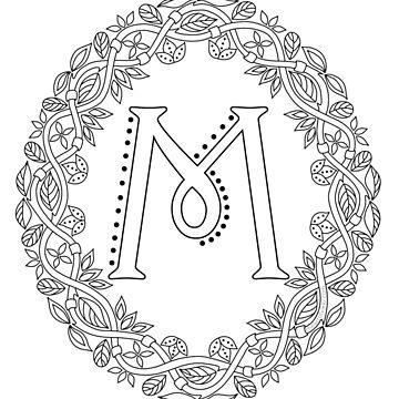 Letter M Black And White Wreath Monogram Initial by theartofvikki
