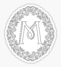 Letter M Black And White Wreath Monogram Initial Sticker
