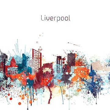 Liverpool Watercolor Skyline Design by DimDom
