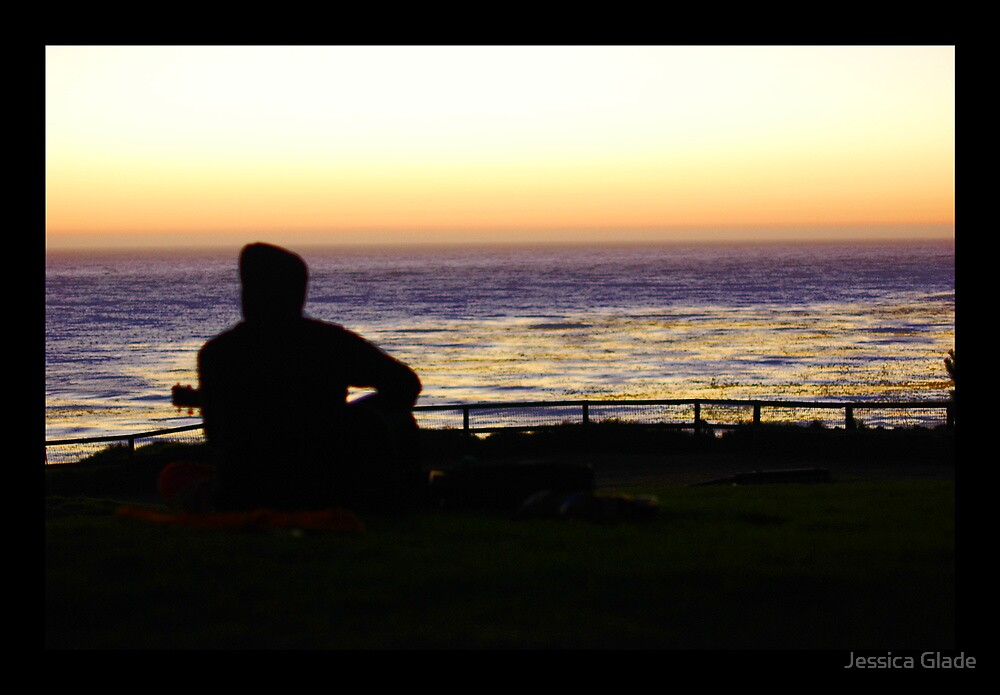 Esalen Sunset with Lance, guitar and ocean by Jessica Glade