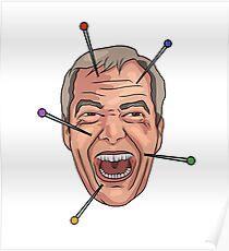 Nigel Farage Voodoo Doll Pin Illustration Poster