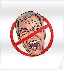 Nigel Farage No Road Sign Illustration Poster