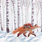 Fox in the birch forest by Embla Granqvist