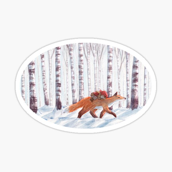 Fox in the birch forest Sticker