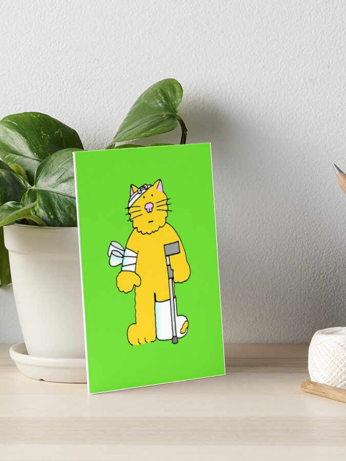 Get Well Cartoon Ginger Cat On A Crutch Art Board Print By Katetaylor