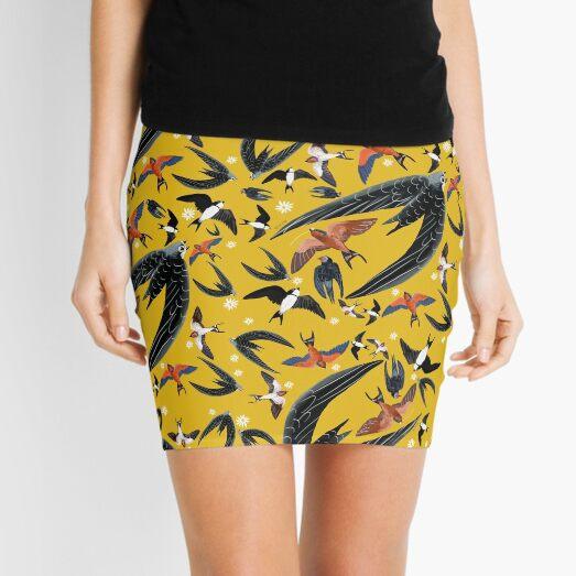 Swallows and swift pattern (Yellow) Mini Skirt