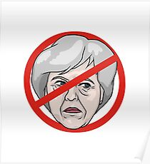 Theresa May No Road Sign Illustration Poster