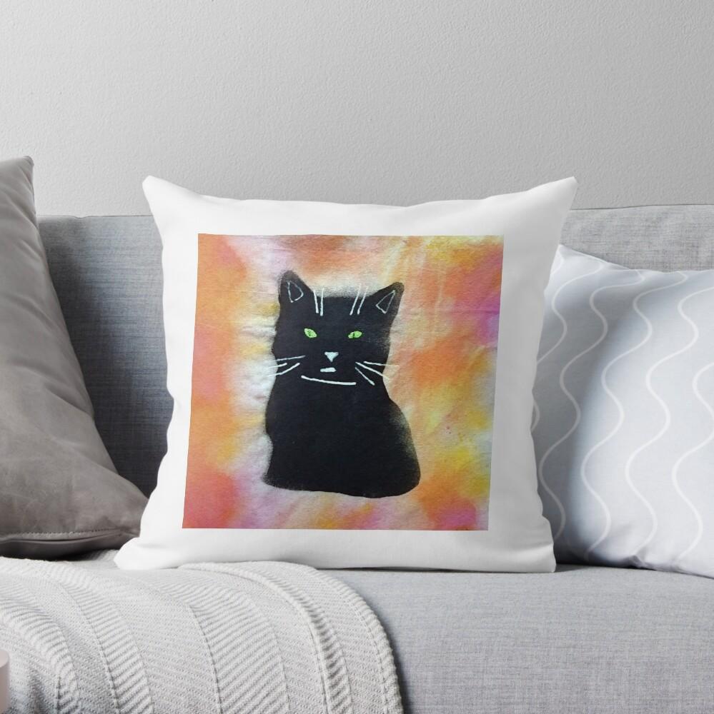Bild schwarze Katze Dekokissen