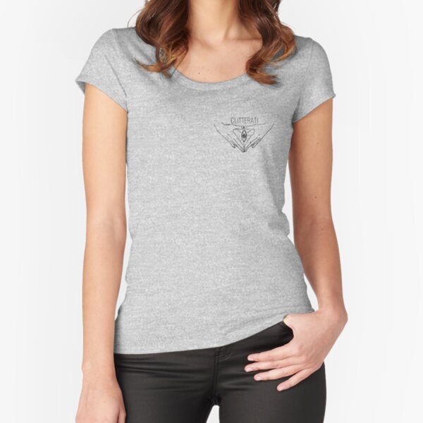 The Clitterati Secret Society - Black and White Fitted Scoop T-Shirt