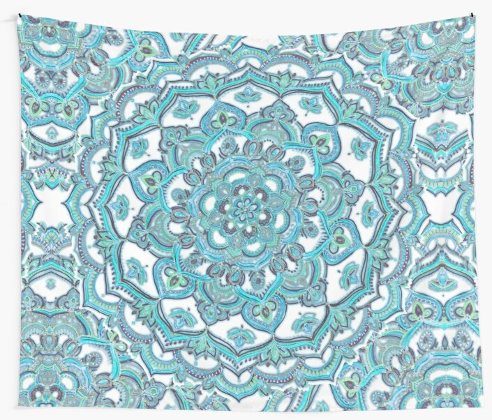 Summer Bloom - floral doodle pattern in turquoise & white by micklyn