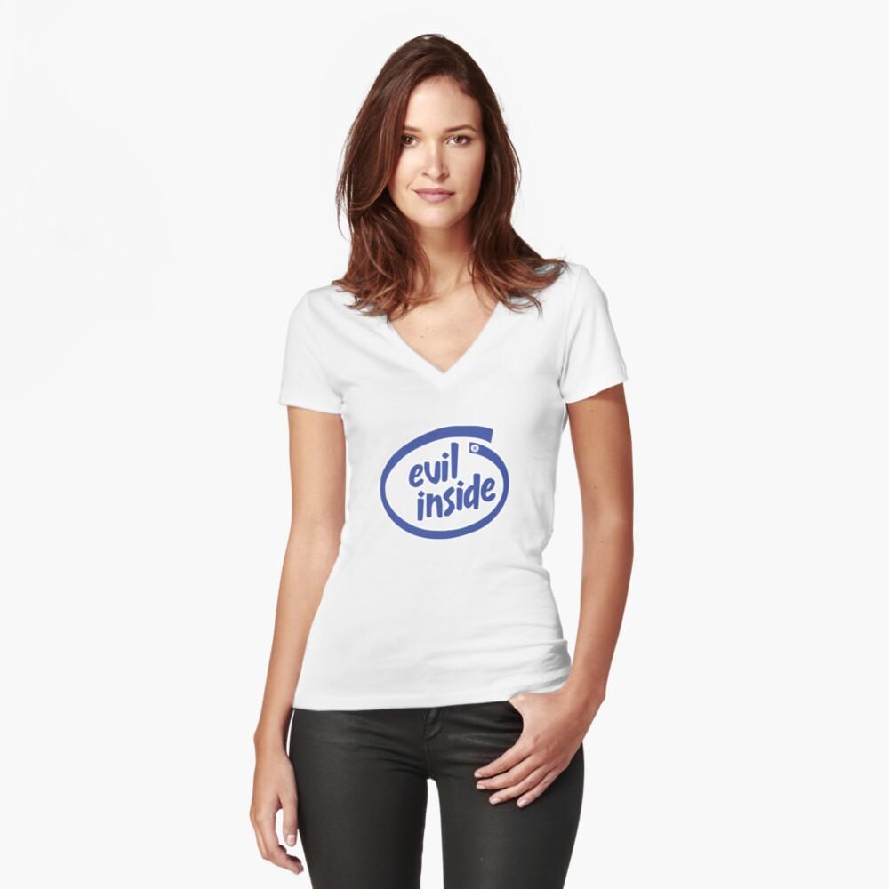 Freaky Logo - Evil Inside Women's Fitted V-Neck T-Shirt Front