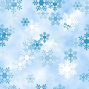 Blue White Snowflake Design Pattern by Digitalbcon