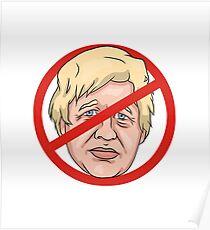 Boris Johnson No Road Sign Illustration Poster