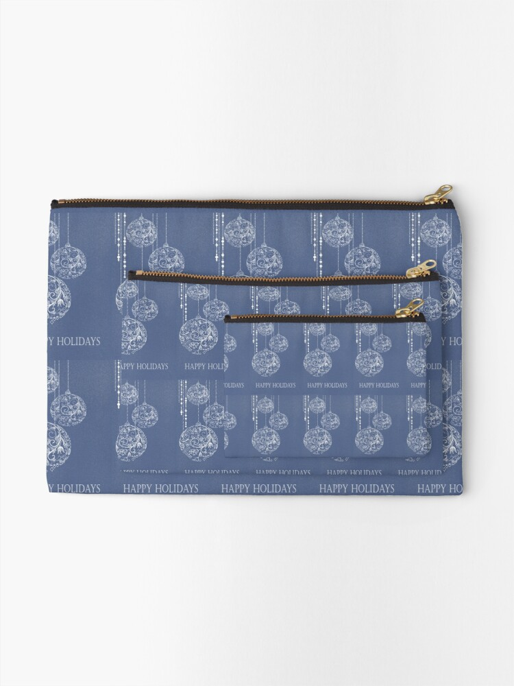 """Alternate view of Filigree Ornaments - """"Happy Holidays"""" Zipper Pouch"""