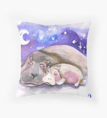 Sleepy Hippos Throw Pillow