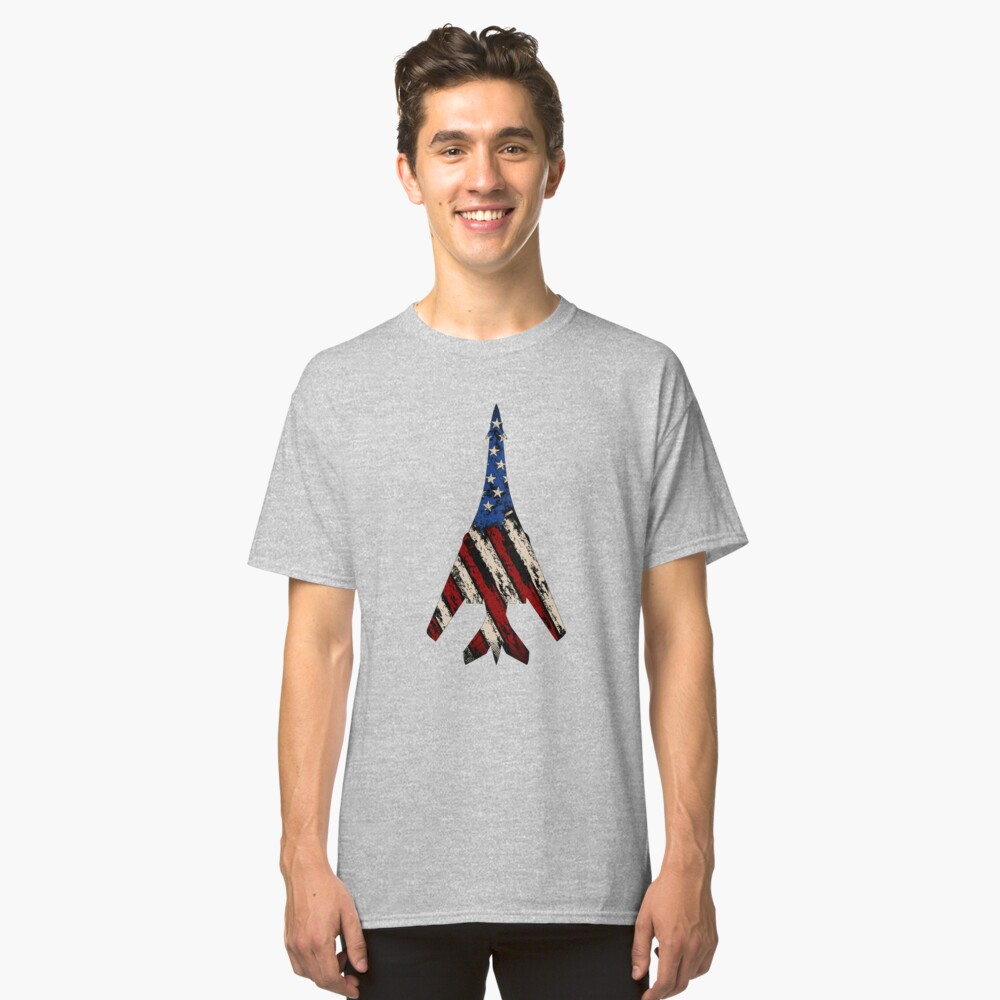 B-1 Lancer Supersonic Bomber | Distressed US Flag T-Shirt Classic T-Shirt Front