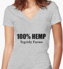 100 % Hemp by Tegridy Farms. Made with Colorado Tegridy.  Women's Fitted V-Neck T-Shirt
