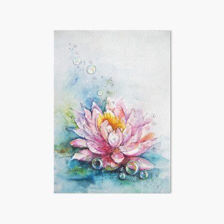 lotus and bubbles Art Board Print