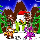 Christmas Snow Man and Children by Zoo-co