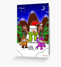 Christmas Snow Man and Children Greeting Card