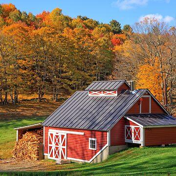 Vermont Sugar Shack Autumn by peanutroaster