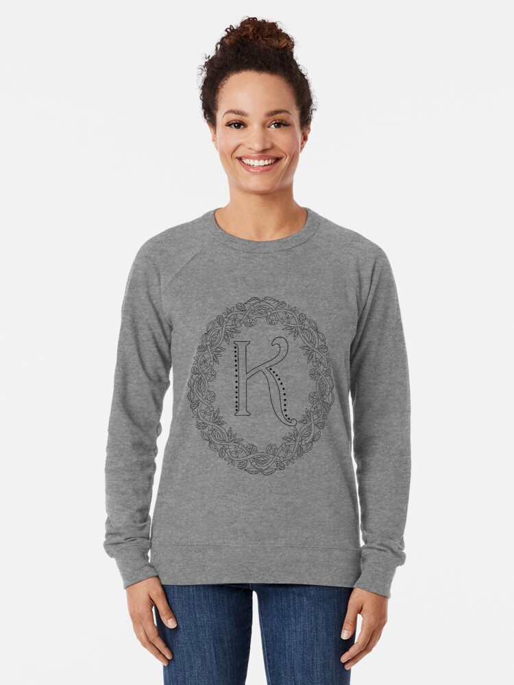 Alternate view of Letter K Black And White Wreath Monogram Initial Lightweight Sweatshirt