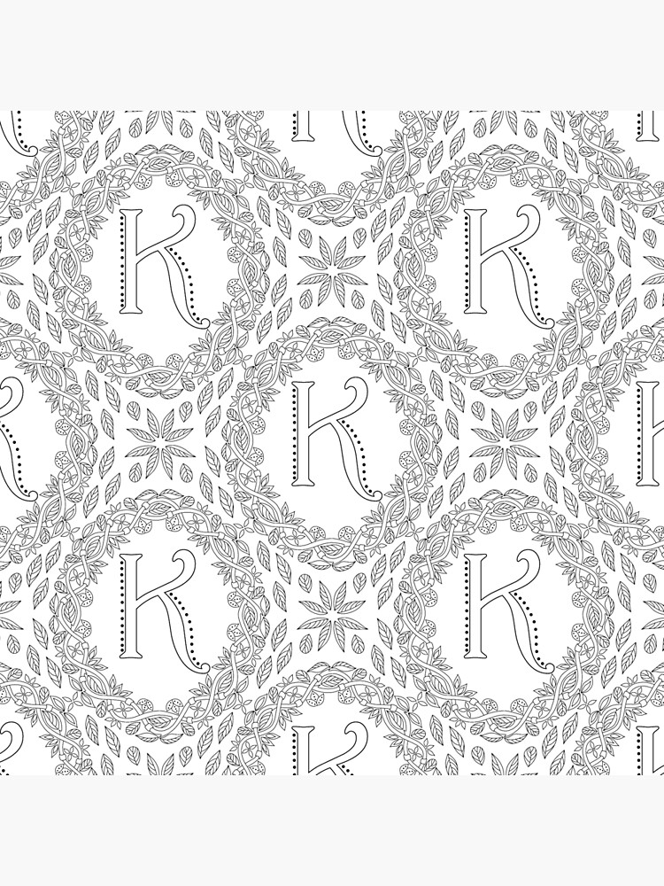 Letter K Black And White Wreath Monogram Initial by theartofvikki