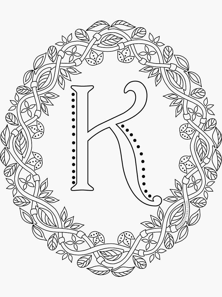 Letter K Black And White Wreath Monogram Initial by theartofvikki