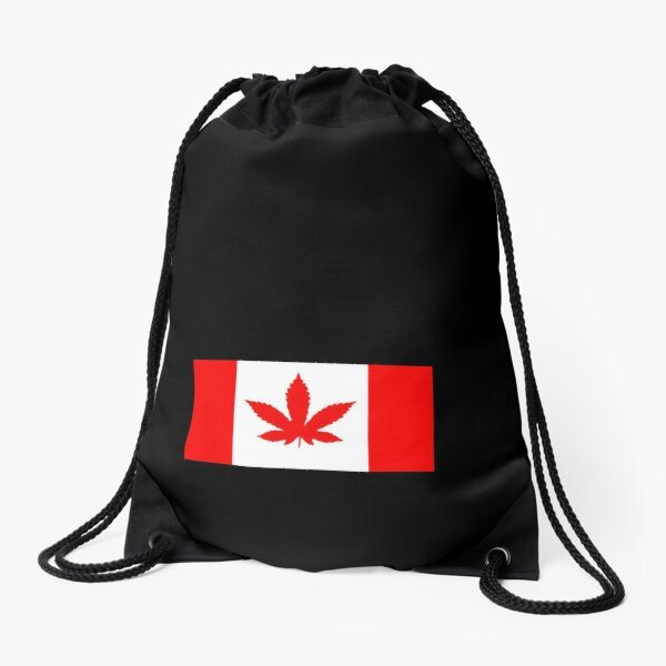Canada Leaf - Cannabis - Marijuana - Weed - Pot Leaf - Red - Flag Drawstring Bag