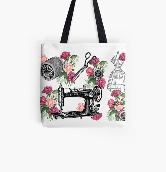 Vintage Sewing Pink Roses All Over Print Tote Bag