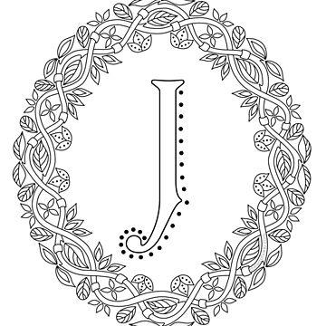 Letter J Black And White Wreath Monogram Initial by theartofvikki