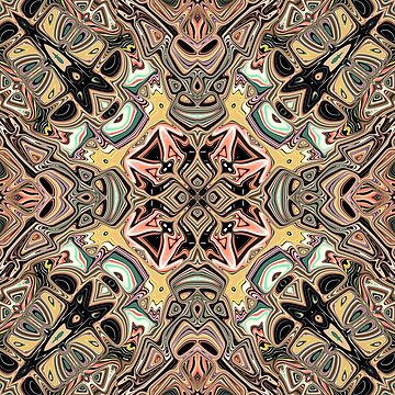 Golden Kaleidoscope Abstract by perkinsdesigns