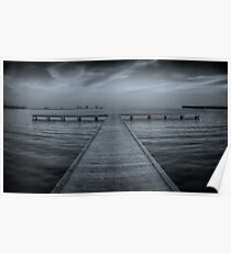 Pier at Millers Bay ~ HDR in Cyanotype Poster