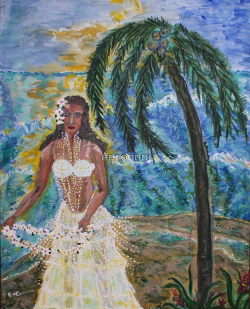 Hula Lady Hawaii acrylic on canvas 16x20 by eoconnor