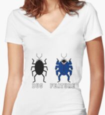 Bug vs Feature funny T-shirt Women's Fitted V-Neck T-Shirt