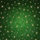 Christmas Starry Night Green Gold Pattern Design by Digitalbcon