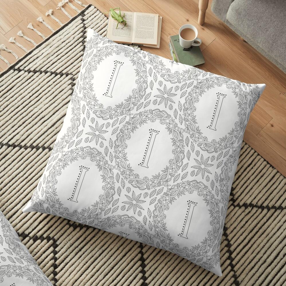 Letter I Black And White Wreath Monogram Initial Floor Pillow