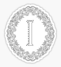 Letter I Black And White Wreath Monogram Initial Sticker