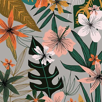 tropical florals on gray by swoldham