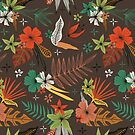 bright tropical floral pattern on brown by Stacey Oldham