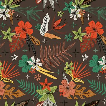bright tropical floral pattern on brown by swoldham